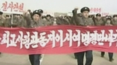 North Korean state TV has broadcast mass military rallies.
