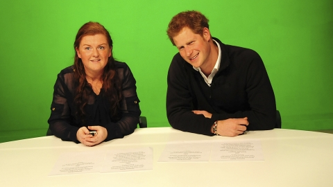 Prince Harry reads the news on TV