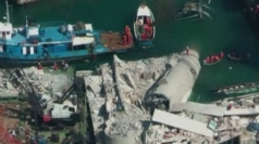 Aerial video: Destruction left by cargo ship crash in Genoa