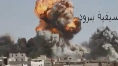 The moment Syrian bomber unleashes airstrike on town