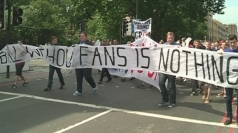 Football fans protest against ticket prices