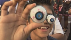 People wearing googly eye glasses set Guinness World Record