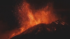 Mount Etna's nighttime eruption: Volcano spews lava