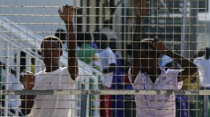 Migrants held at the immigration centre on Lampedusa