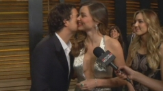 Orlando Bloom interrupts Miranda Kerr's interview at party