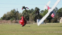 Skydiver and plane in dramatic mid-air collision