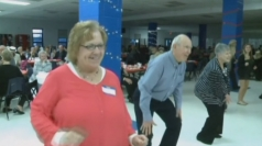 Pensioners show off their moves at special high school prom