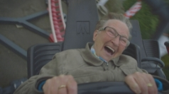 Daredevil Grandma rides rollercoaster for the first time